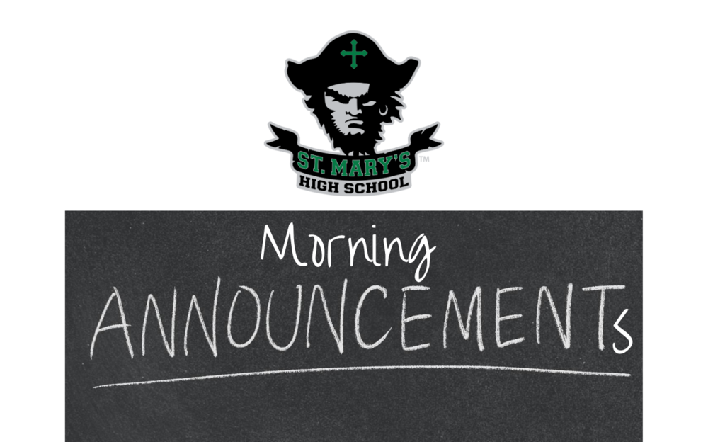 Announcements: Wednesday, Oct. 21