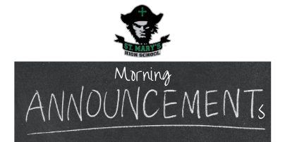 ANNOUNCEMENTS: Tuesday, March 2