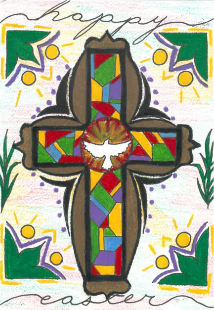 Artwork of a stained-glass cross