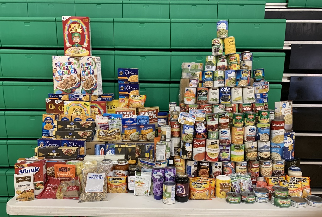 Stacks of non-perishable food items